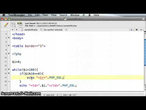 PHP create HTML table with a while loop - tutorial 09.3