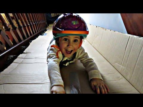 DIY long slide in the House- Sledding Down Staircase/ DIY Box slide