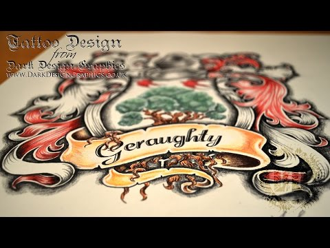 Custom Coat of Arms Tattoo Design - Speed Drawing