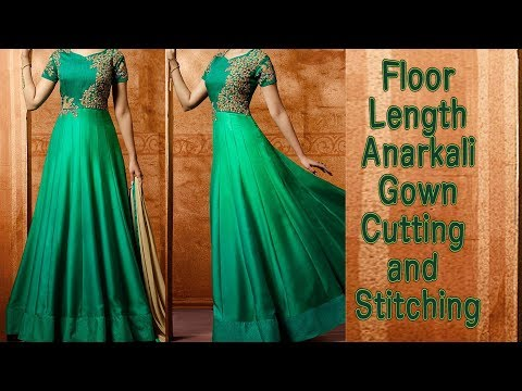 Floor Length Gown,anarkali Cutting and Stitching in Hindi