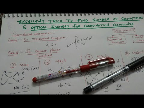 Trick to find number of Geometrical and optical isomers/stereoisomerism/coordination compounds.