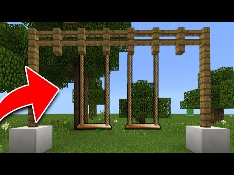 How to Make a WORKING SWING in Minecraft Tutorial! (Pocket Edition, PS4, Xbox, Switch, PC)