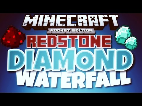 ✔️Minecraft PE - REDSTONE DIAMOND WATERFALL // make a REDSTONE diamond waterfall! [MCPE 0.14.3]