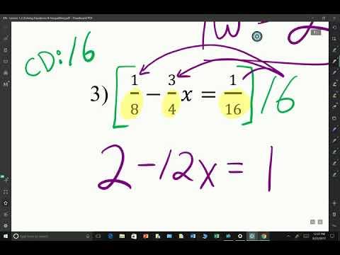 A2  - Lesson 1.2 - Solving Equations (Part 1)