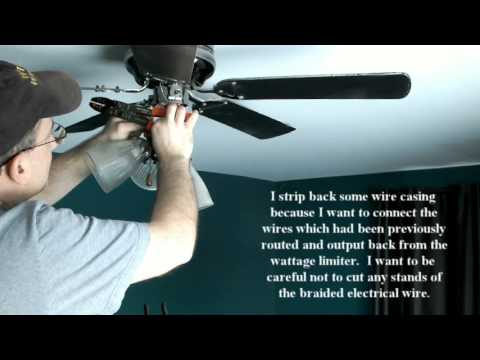 fixing ceiling fan on which lights had been blinking because of defective wattage limiter