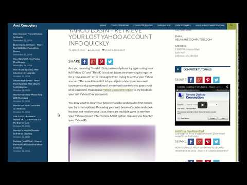 Yahoo Login - Retrieve Your Lost Yahoo Account Info Quickly