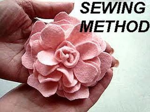 HANDMADE PINK FELT ROSE FLOWER, how to diy,  sewing method