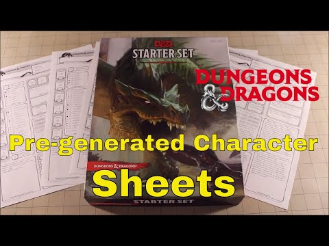D&D (5e): Pre-generated Character Sheets.