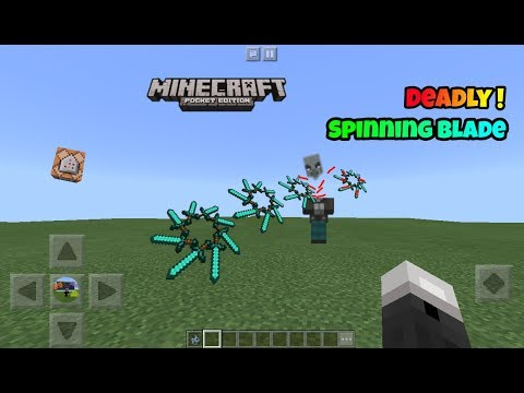 [MCPE]How to make Throwable SPINNING BLADE in Minecraft Pe with Command blocks !!