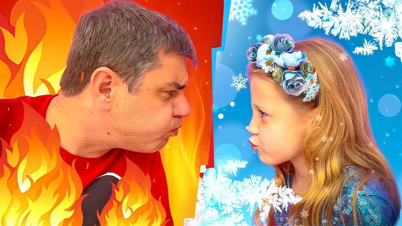 Nastya và bố chơi thử thách nóng và lạnh