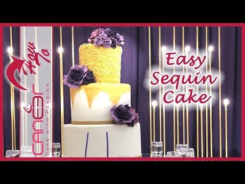 How to make a sequin covered cake,  كيكة الخرز الذهبي للأعراس