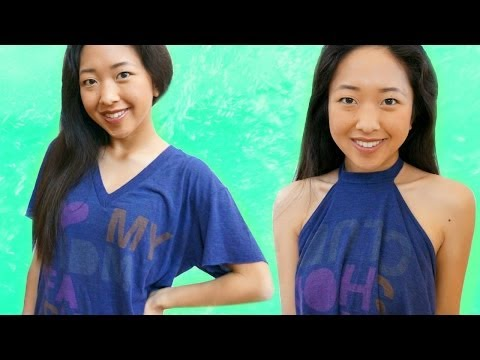 T-shirt Transformation into a Halter Top (No-Sew)