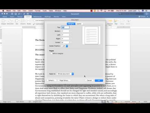 Setting Margins in Word 2016 for Mac