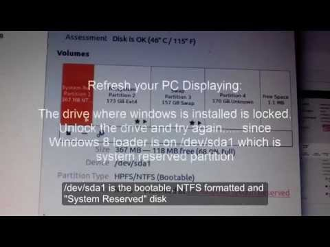 The drive where Windows 8 Loader is installed is locked or System Reserved. Dual Boot Problem
