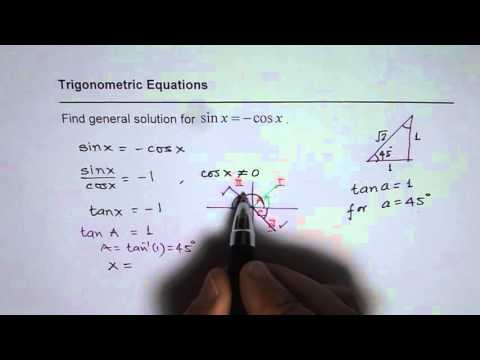 Find General Solution for Trig Equation sin x equals negative cos x