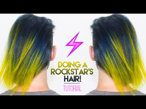How To: Bleach & Dye A Rockstar's Hair Navy Blue & Neon Yellow!   KristenLeanneStyle