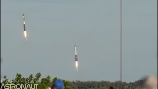 Falcon Heavy slo-mo launch and landing (Watch the sound ripple through the exhaust at 120 FPS)