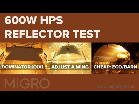 HPS reflector comparison test - Dominator XXXL Vs Adjust a wing Defender Vs budget Eco/Barn Type