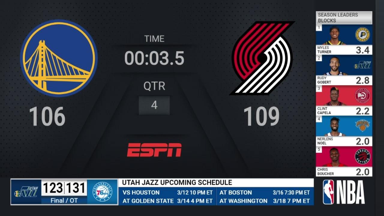 Warriors @ Trail Blazers | NBA on ESPN Live Scoreboard
