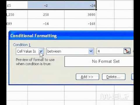 Microsoft Office Excel 2003 Add a conditional format