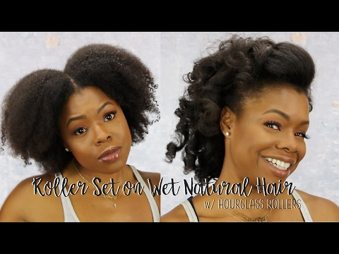 Roller Set on Wet Natural Hair w /Hourglass Rollers