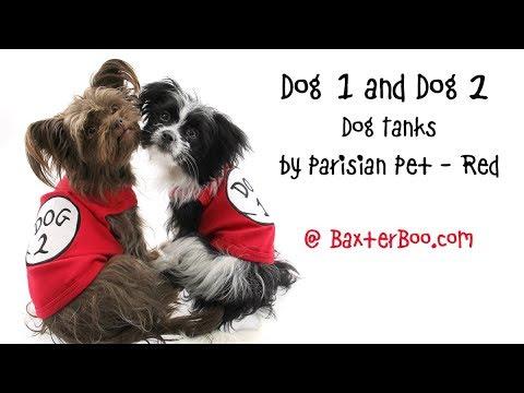 Dog 1 & Dog 2 Dog Tanks by Parisian Pet - Red