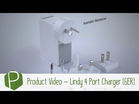 Lindy 4 Port USB Travel Charger 'In Focus' Video (German)