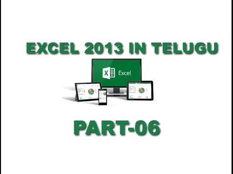 Ms Excel 2013 in Telugu Part 6