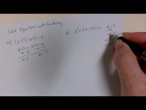 Solve Equations with Factoring