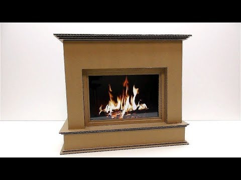 How to make a fireplace out of cardboard Decorative fireplace out of cardboard