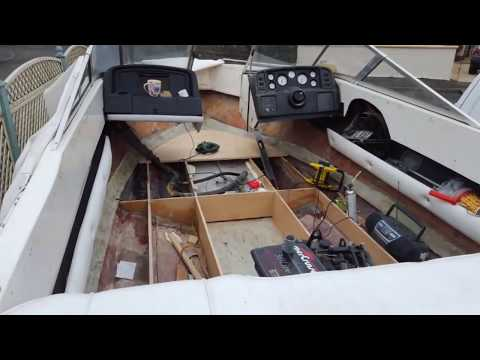 Boat deck & floor restoration Tutorial, how to fix, mend and replace rotten plywood, fiberglass uk
