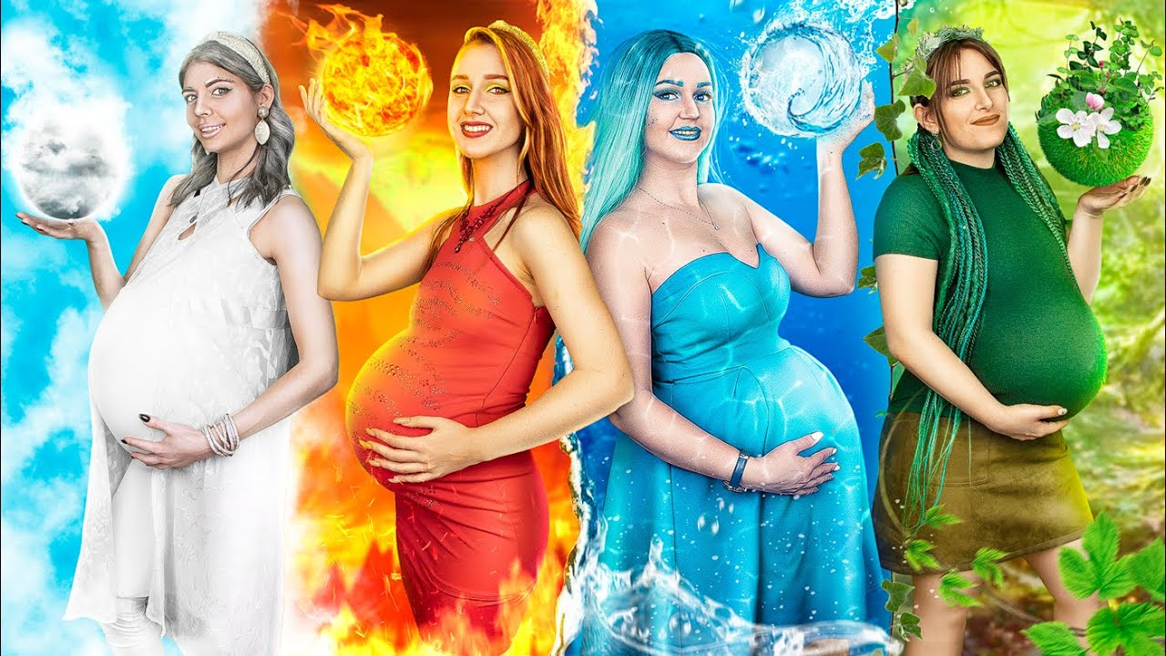 Fire Girl, Water Girl, Air Girl, Earth Girl are Pregnant / Four Elements in Real Life