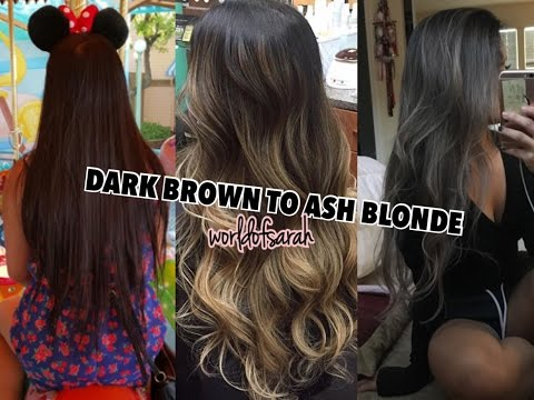 FROM DARK BROWN TO ASH BLONDE/SILVER (Hair Transition/Haircare Routine) | sawwapatch