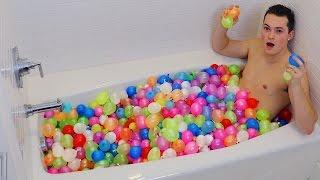 1400 WATER BALLOONS BATH CHALLENGE!