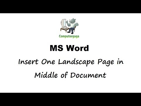 Insert Landscape Page in Middle - Landscape One Page using Section Breaks