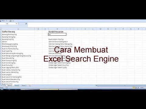 Tutorial cara membuat search engine menggunakan excel