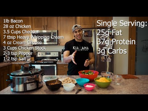 Keto Broccoli Bacon Chicken Cheddar Soup | Crock Pot Recipes | 30 Minute Meal Prep