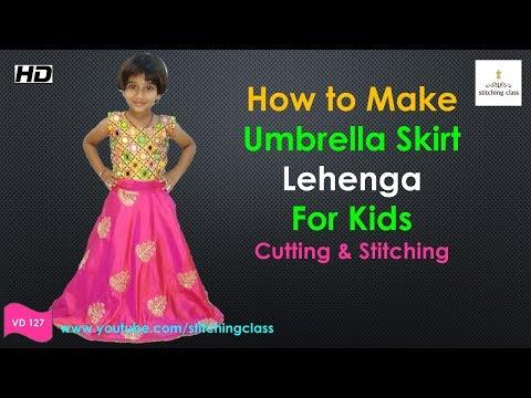 Umbrella Cut Skirt    Umbrella Cut Lehenga Cutting and Stitching    Umbrella Skirt   