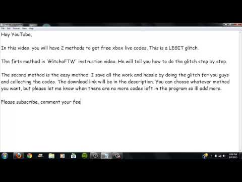 How to get Free Xbox Live Codes-Glitch+Codes