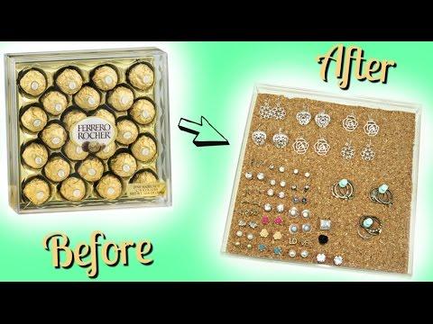 DIY EARING/RING ORGANIZER | Recycling Ferrero Rocher Box!