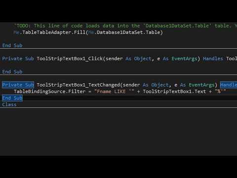 Creating a Database & Search Button in VB 2015