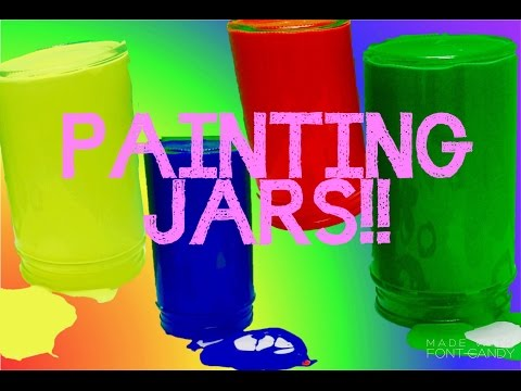RAINBOW PAINTING Glass Jars Acrylic Paint Craft Making!