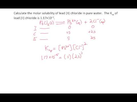 Ksp - calculate molar solubility