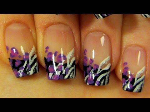 Black French with Purple Leopard Print & White and Silver Zebra Print Design Nail Art Tutorial