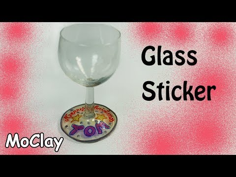 DIY Window Sticker for wine glass decoration - Liquid polymer clay tutorial