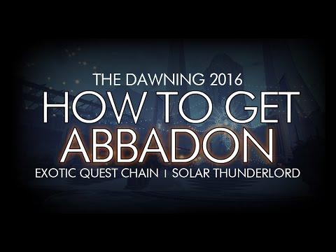 Destiny - How To Get Abbadon - New Exotic Machine Gun Quest / Solar Thunderlord
