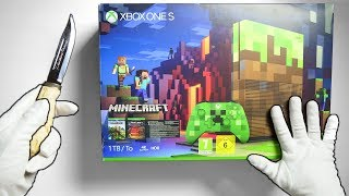 Xbox One MINECRAFT Console Unboxing (Limited Edition Bundle) + Creeper & Pig Controllers