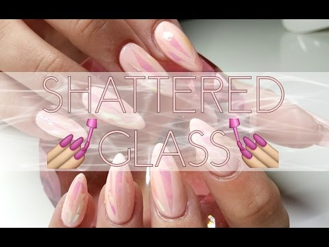 Pink Shattered Glass Nail Design