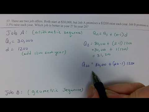 Job comparison with arithmetic and geometric sequences