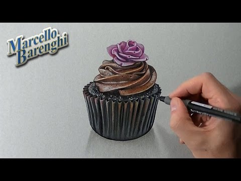 How to draw a 3D cupcake